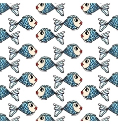 Fish hand-drawn pattern on transparent background vector