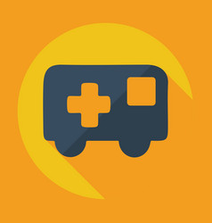 Flat modern design with shadow icon ambulance vector