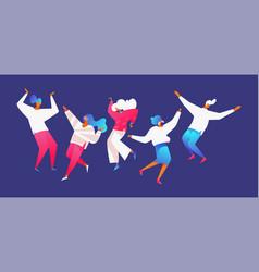 flat modern group of people dancing men and women vector image