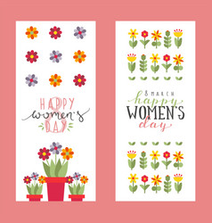 Floral banners for womens day greeting card vector