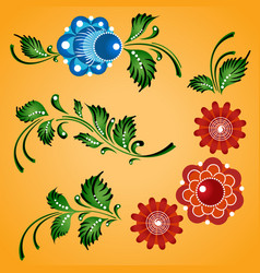 Floral ornaments set russian gorodets folk vector