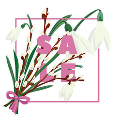 Floral snowdrops and pussy willow hand drawn vector