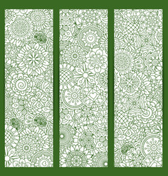 flyers with green floral mandala pattern vector image