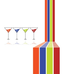 Four glasses and four color line vector