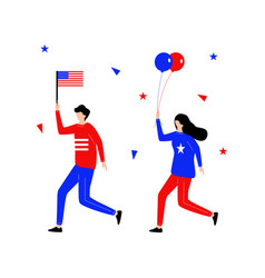 fourth july flat character running hold flag vector image