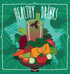 fresh juice with fruits and root vegetables vector image