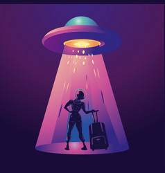 futuristic girl traveler woman astronaut in vector image