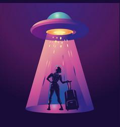 Futuristic girl traveler woman astronaut vector