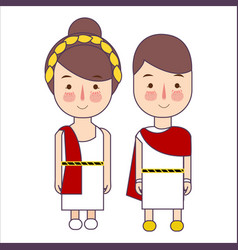 Girl and boy wearing ancient rome greek costume vector