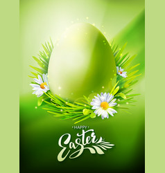 green easter egg hunt poster vector image