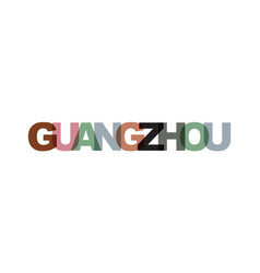 guangzhou phrase overlap color no transparency vector image