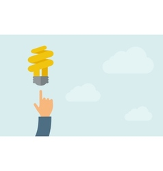 Hand pointing to spiral bulb vector