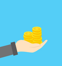 Hand with golden coins stack concept savings vector