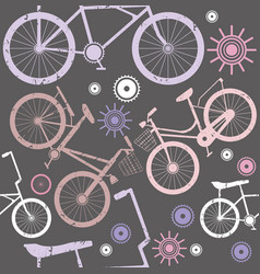 Hipster bicycle seamless pattern background vector