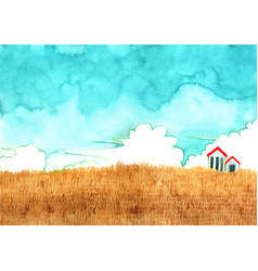 House at golden grass meadow with cloud sky vector