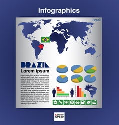 Infographic map of Brazil EPS10 vector image