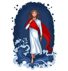 jesus walking on water vector image
