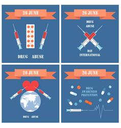 june 26 drug abuse day set vector image