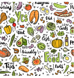 Ketogenic food seamless pattern sketch vector