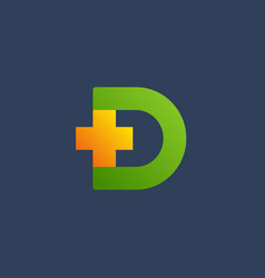 letter d cross plus logo icon design template vector image