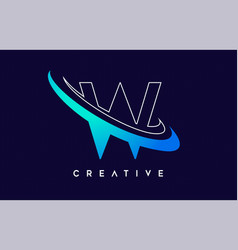 Letter w logo w letter design with blue swash vector