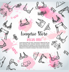 Lingerie horizontal banners fashion bra and pantie vector