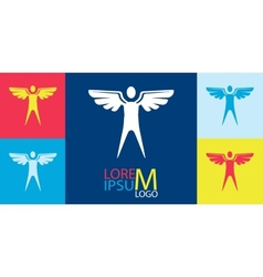 Logo Template - Man with Wings vector image