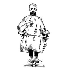 man in barbershop engraving vector image