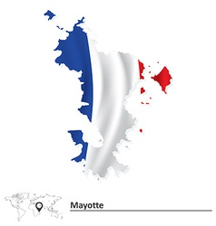 Map of Mayotte with flag vector image