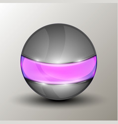 metal sphere with purple line vector image