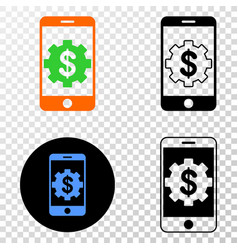 mobile bank settings eps icon with contour vector image