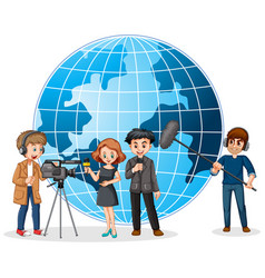 News reporter and photographer with globe in vector