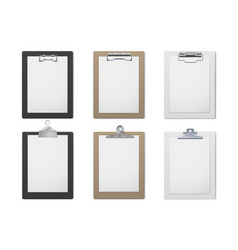 office clipboard realistic set document and paper vector image