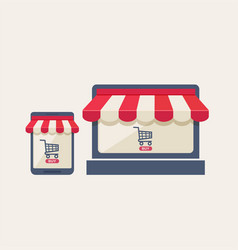 online mobile store or shopping concept vector image