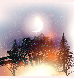 outdoor background with trees and starry sky vector image