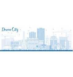 Outline davao city philippines skyline with blue vector