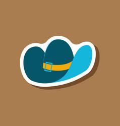 Paper sticker fashion clothes cowboy hat vector