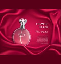 Perfume bottle flower fragrance cosmetic design vector