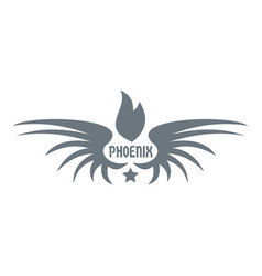 Phenix wing logo simple gray style vector