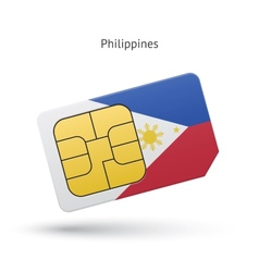 Philippines mobile phone sim card with flag vector