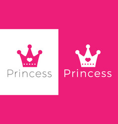 Pink sign crown princess design modern logos vector