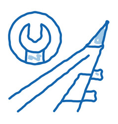 Plane wing wrench doodle icon hand drawn vector