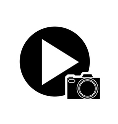 Play button and camera icon vector