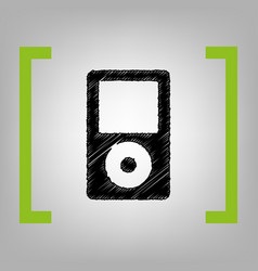 Portable music device black scribble icon vector