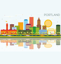 Portland oregon city skyline with color buildings vector