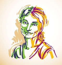 portrait of attractive woman facial expressions of vector image