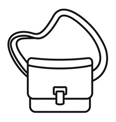 Postman leather bag icon outline style vector