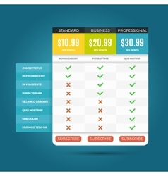 pricing business plans for websites and vector image