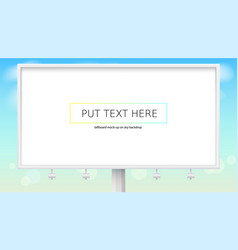 realistic white billboard on backdrop of blue vector image