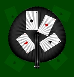 round fan and cards vector image